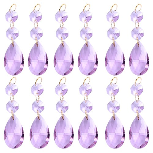 BIHRTC Pack of 12 Hanging Purple Teardrop Crystal Chandelier Prisms Pendants Glass Pendants Beads for Chandelier,Candelabra,Ceiling Lights,Wedding Display Decoration