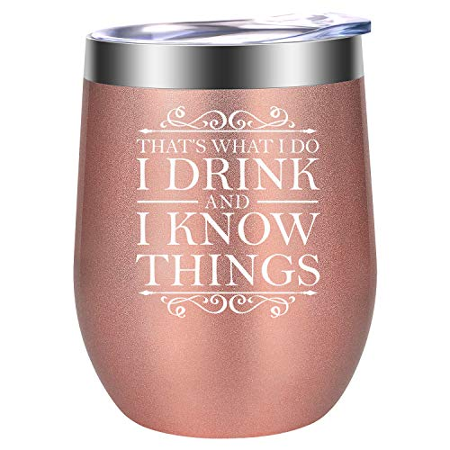 - That's What I Do, I Drink and I Know Things - GOT House Lannister Inspired Merchandise - Funny Birthday, Friendship Wine Gifts for Women Best Friend, Wife, Mom, Coworker - LEADO 12oz Wine Tumbler Cup