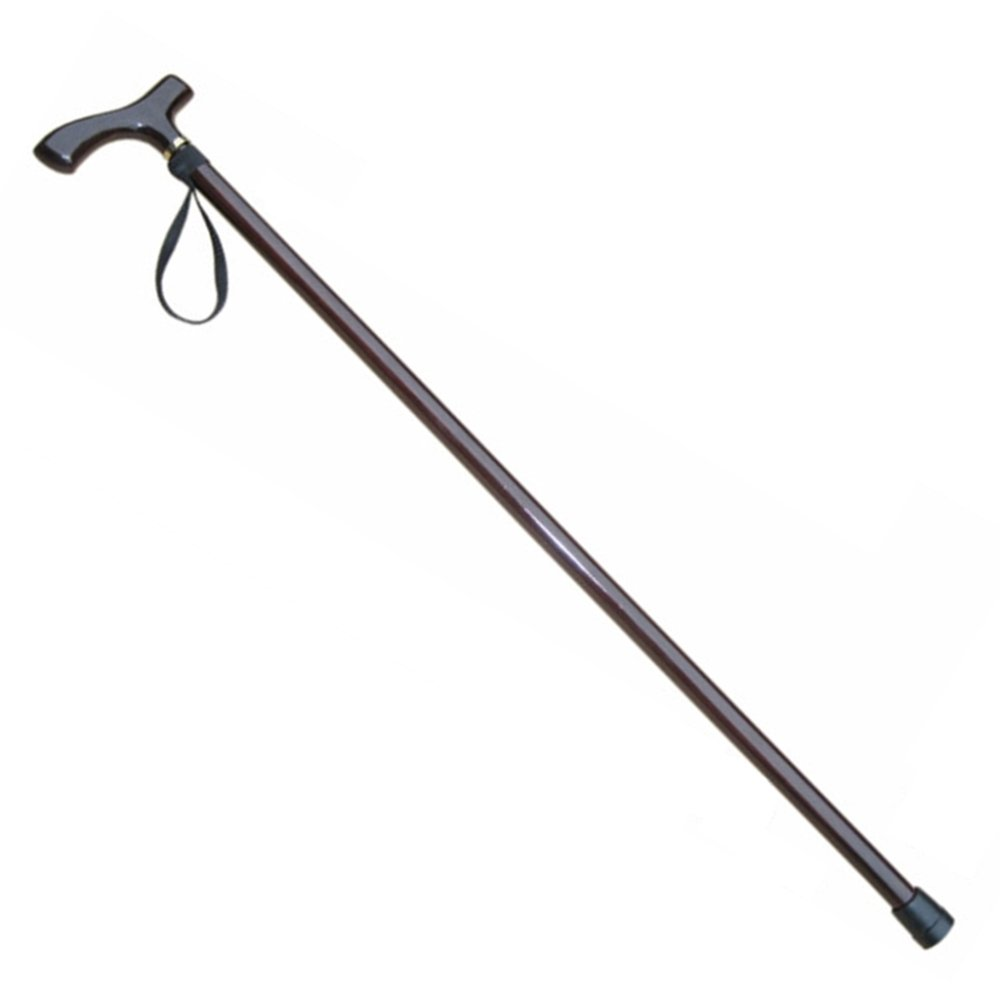 LIULIFE Wooden Cane Non-slip Old People Solid Wood Walking Sticks Single Foot Long Handle Cane Faucet Crutch,Brown