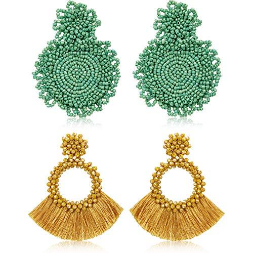2 Pairs Statement Drop Earrings Bohemian Beaded Round Handmade Tassel Earrings for Women Girls Jewelry (Style Set 5)