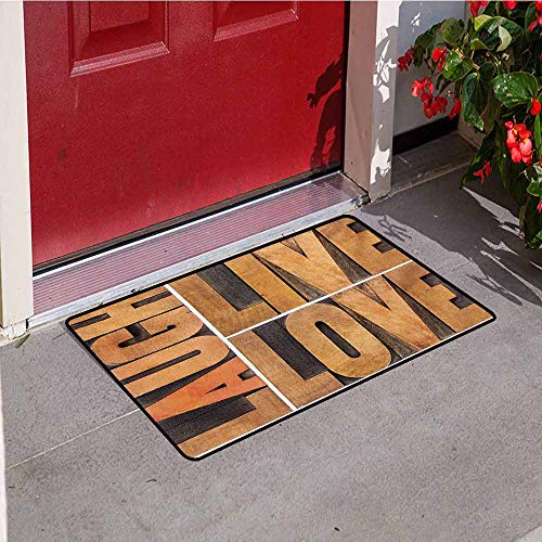 - Jinguizi Live Laugh Love Front Door mat Carpet Macro Calligraphy with Life Message Inspirational Digital Graphic Machine Washable Door mat W15.7 x L23.6 Inch Pale Caramel Umber