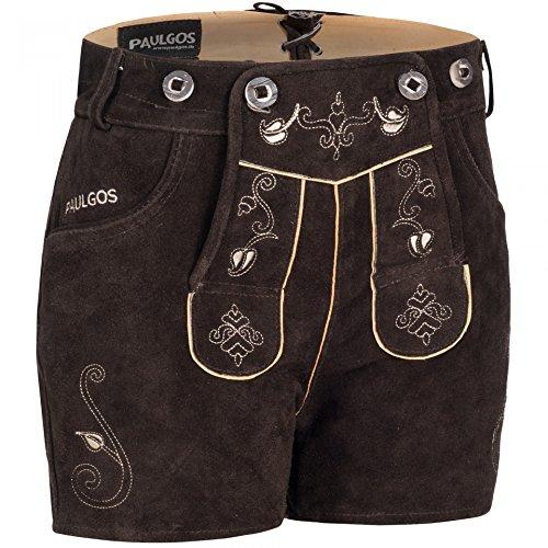 PAULGOS Damen Trachten Lederhose + Träger Echtes Leder Sexy Hotpants Dunkelbraun H1, Größe Lederhose:44