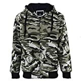 Heavyweight Sherpa Lined Full Zip Up Camo Fleece Hoodie for Men Winter Grey Blue Green Mens Sweatshirts Jacket (Camo Green, 2XL)