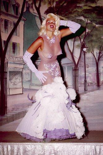 [Jayne Mansfield in revealing see-thru showgirl costume 24x36 Poster] (Revealing Costumes)