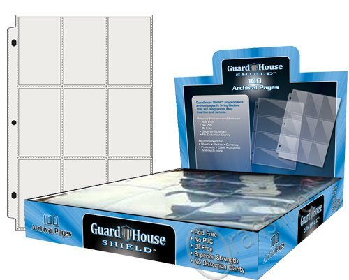 Trading Card Set Sleeves (9 Pocket Trading / Sports / Baseball Card Pages Box of 100 GuardHouse Shield)