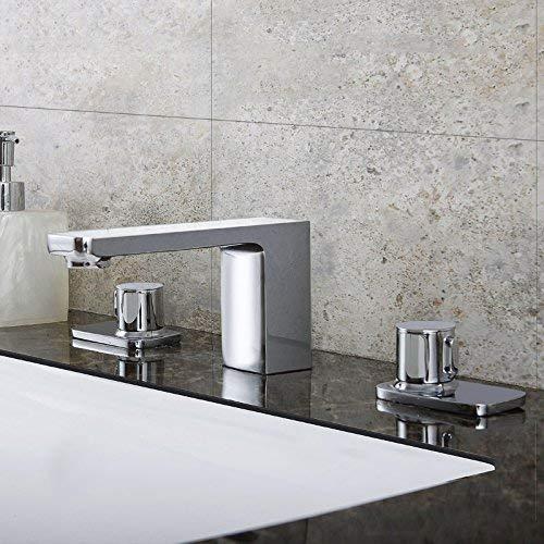 JingJingnet 洗面器ミキサータップ浴室のシンクの蛇口銅、散在し、3ピースのホット&コールド盆地 (Color : The Chrome) B07S2P8ZVL The Chrome