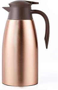 68oz Coffee Carafe Airpot Insulated Coffee Thermos Urn Stainless Steel Vacuum Thermal Pot Flask for Coffee, Hot Water, Tea, Hot Beverage - Keep 12 Hours Hot, 24 Hours Cold -Gold