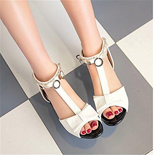 YFF Sandales femmes Talon bas occasionnels PU talon Fermeture éclair chaîne,blanc,US8.5