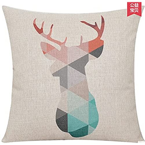 Elephant deer mountains cotton linen throw pillow case cushion cover home sofa decorative 18 x 18 inch 5 6
