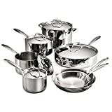 8 inch deep sauce pan - Tramontina 80116/249DS Gourmet Stainless Steel Induction-Ready Tri-Ply Clad 12-Piece Cookware Set, NSF-Certified, Made in Brazil