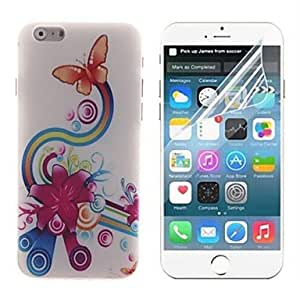 Orange Butterfly Design Hard with Screen Protector Cover for iPhone 6