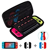 Puning 4in1 Nintendo Switch Bag- Travel Case,10 game card slots & a Bonus Screen Protector,a Dust-absorber & 2 screen cleaning paper,2 pairs of silicone sleeve &2 pairs of silicone caps