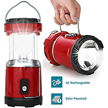 LED Camping Lantern, IRuiYinGo Rechargeable Solar Lantern Flashlight Ultra Bright Hand Tough Lamp (Red Color) - Great Light for Camping / Hiking / Fishing / Backpacking / Outdoor