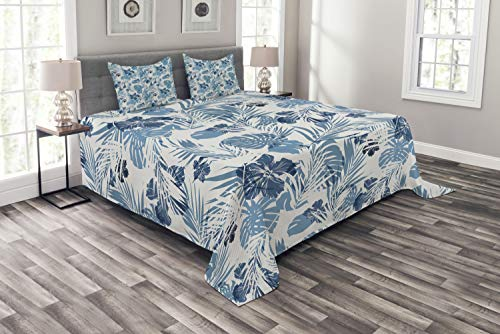 (Ambesonne Leaf Bedspread Set King Size, Island Ocean Beach Sea Inspired Hawaiian Flowers Palm Tree Leaves Art Print, 3 Piece Decorative Quilted Coverlet with 2 Pillow Shams, Blue Lilac)