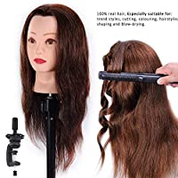 HAIREALM Mannequin Head 100% Real Hair Hairdresser Training Head Manikin Cosmetology Doll Head (Table Clamp Stand Included)