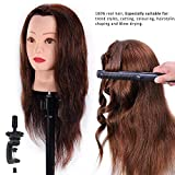 HAIREALM Mannequin Head 100% Human Hair Hairdresser Training Head Manikin Cosmetology Doll Head