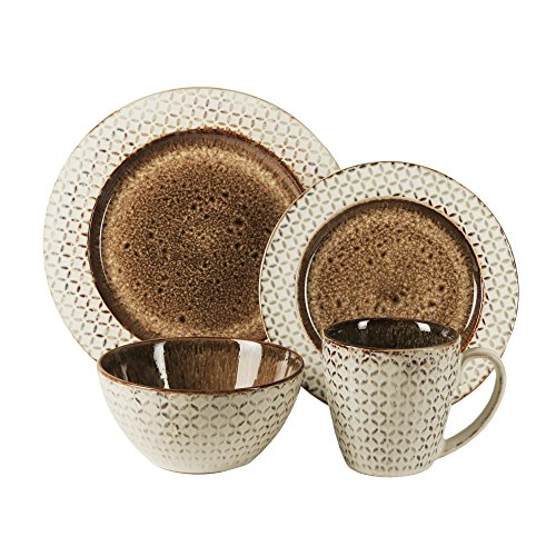 American Atelier 6590-16rb 16 Piece Piper Round Dinnerware Set, Brown