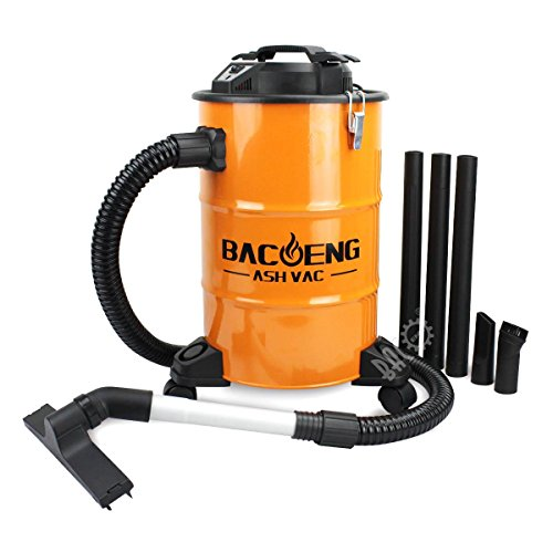 BACOENG 5.3-Gallon Ash Vacuum Cleaner with Double Stage Filtration System, Advanced Ash Vac (Pellet Stove Steel Brush)