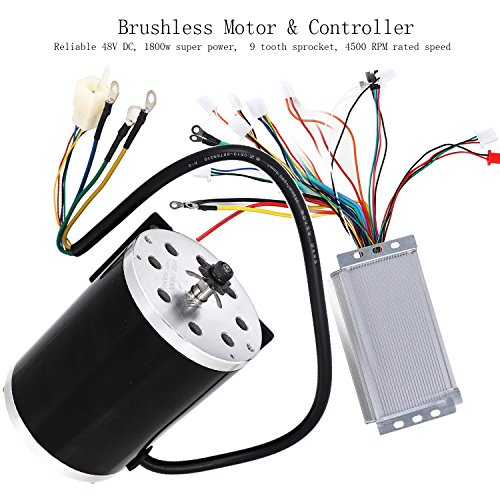 Motor Controller Circuit (ZXTDR 48V 1800W Brushless Electric Motor and Controller Set For Go Kart Scooter E Bike Motorized Bicycle ATV Moped Mini Bikes)