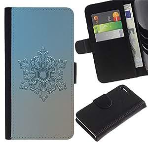 """Apple iPhone 4 / iPhone 4S , la tarjeta de Crédito Slots PU Funda de cuero Monedero caso cubierta de piel ("""" Snowflake Art Winter Cold Blue Ice Frost Silver"""")"""