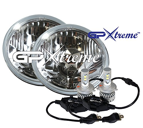 GP XTREME H4 9003 CREE LED Kit White 5.75'' Round Seal Beam Replacement with Glass Lens H651 / H466 Old School Upgrade Head Lights HeadLamp - 2 Beam / Order by GP-XTREME