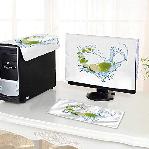 UHOO2018 One Machine LCD Monitor Keyboard Cover Fruit in Water Splash Fall Lime Water Splash with Fruits dust Cover 3 Pieces /24