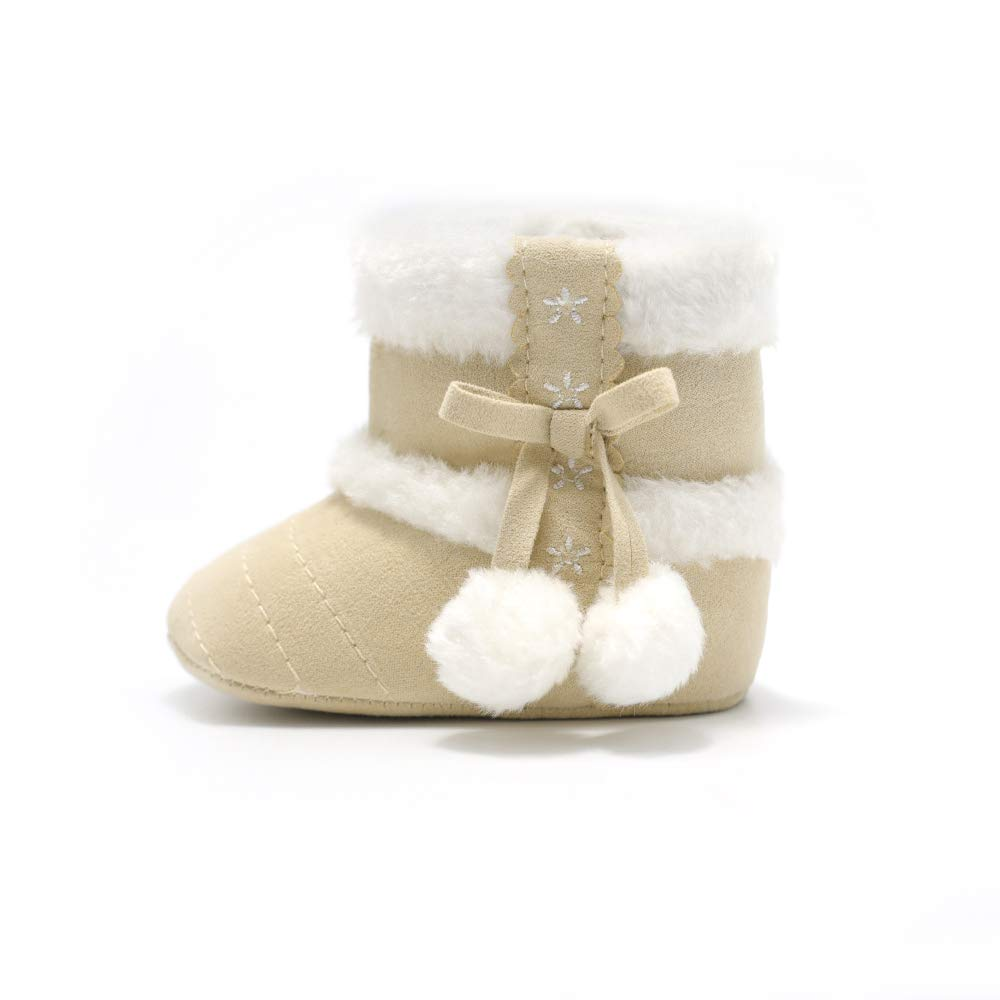 MZjJPN Baby Booties for Newborn Girls Faux Fleece Solid First Walkers Winter Shoes Super Warm Crib 0-18 Months
