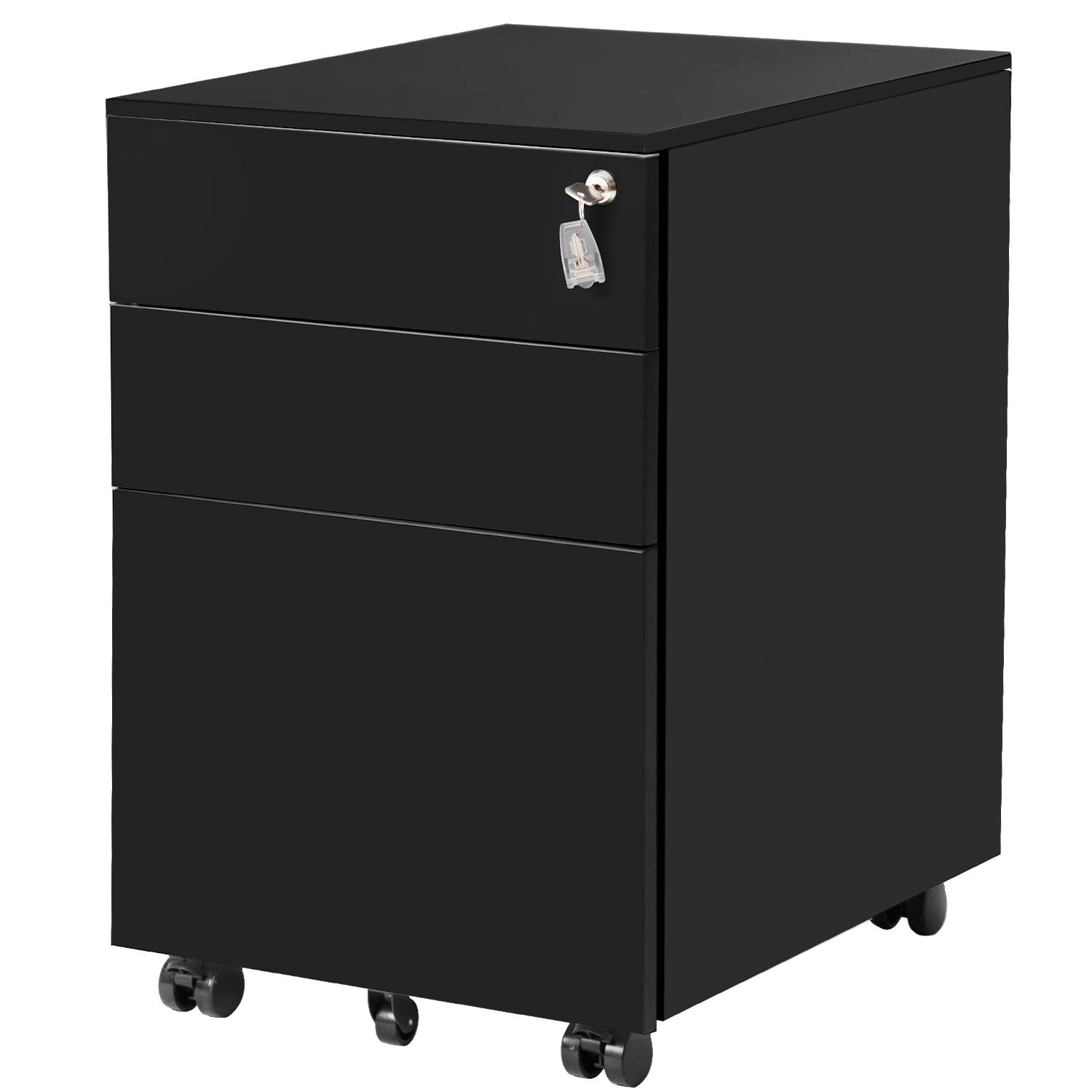 ModernLuxe File Cabinet 3 Drawer Metal Mobile File Cabinet with Lock Fully-Assembled Except Casters (Black) by ModernLuxe