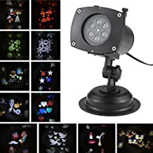 Tomshine Halloween/Christmas/Easter Projector Lamp Rotating LED Projection Light 12 Patterns Pumpkin/Ghost/Heart/Snowflake 12 Replaceable Lens for Birthday Wedding Celebration Decoration