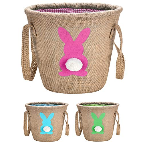 Personalized Easter Bunny Basket,Jute Cloth Tote Bag Carrying Eggs for Easter,Easter Bucket(Pink) -