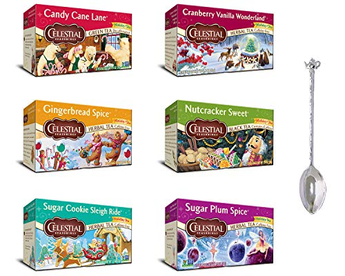 - Celestial Seasonings Holiday Bundle Variety Pack 7 items with Tea Spoon, Candy Cane Lane, Cranberry Vanilla Wonderland, Gingerbread Spice, Nutcracker Sweet, Sugar Cookie Sleigh Ride & Sugar Plum Spice