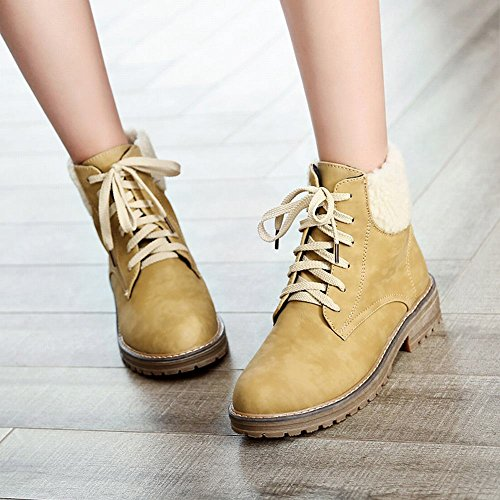 Latasa Womens Lace up Chunky Heels Ankle High Oxford Boots Dark Yellow FO94td