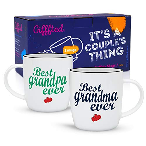 Gifffted Grandparents Mugs, Worlds Best Ever Grandma and Grandpa Coffee Mugs Gifts From Grandson Granddaughter, Funny Mug Presents For Great Grandparent Anniversary Valentines Day, 2 Set Gift Cups V1