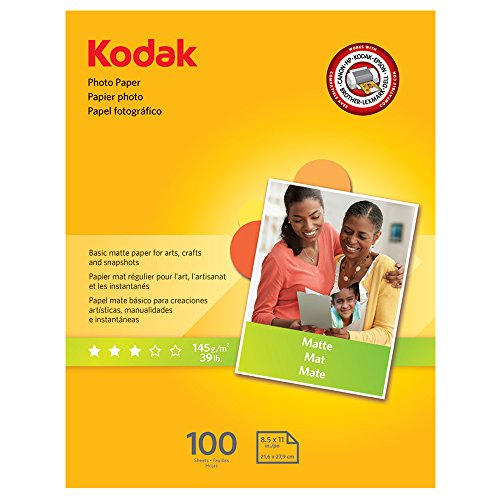 "- Kodak Photo Paper for inkjet printers, Matte Finish, 7 mil thickness, 100 sheets, 8.5"" x 11"" (8318164)"