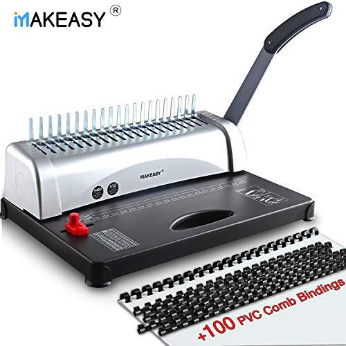 MAKEASY Binding Machine, 21-Hole, 450 Sheet, Paper Punch Binder with Starter Kit 100 PCS 3/8'' PVC Comb Bindings, Comb Binding Machine Scrapbook