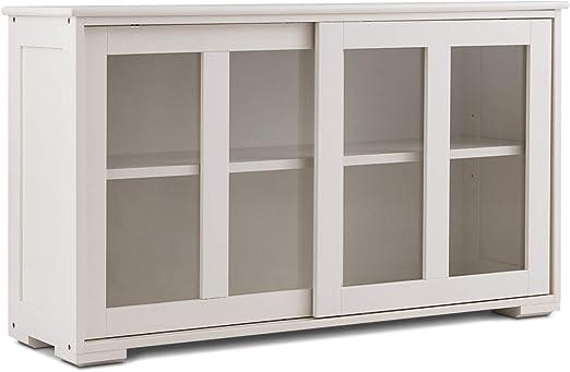 Yongtaifeng Aparador de Cocina con 2 estantes y 2 Puertas correderas, Mueble de Almacenamiento para Cocina, salón, 106,7 x 33 x 62,5 cm, MDF y Cristal Templado Transparente Blanco: Amazon.es: Hogar