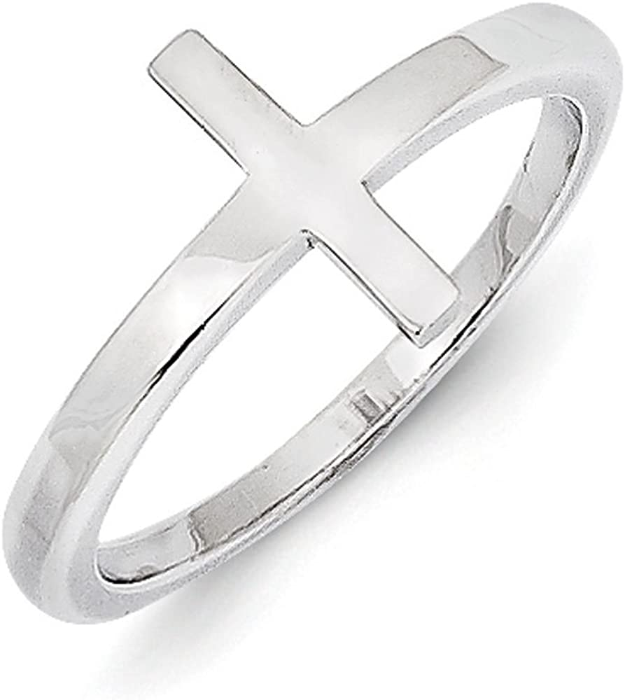 Princess Kylie Clear Cubic Zirconia Sideway Cross Ring Sterling Silver