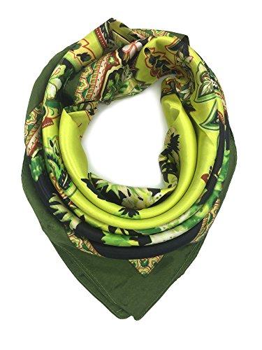 YOUR SMILE Silk Like Scarf Women's Fashion Pattern Large Square Satin Headscarf (Green Bandanna)