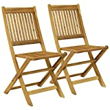 Charles Bentley Garden Pair Of Wooden Outdoor Dining Patio Foldable Chairs