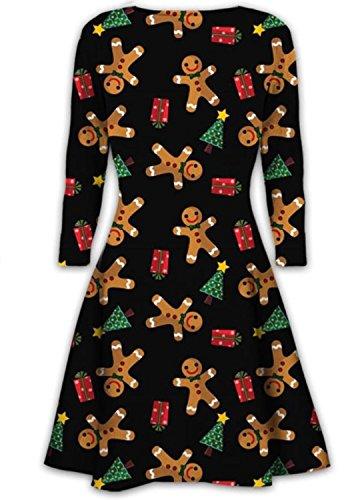 Women Ladies Xmas Novelty 3D Flashing Light Up Santa Rudolph Elf Reindeer Flare Swing Tunic Dress Plus size 8 - 42