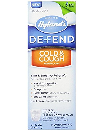 Hyland's DEFEND Cold and Cough Liquid, Natural Relief of Nasal Congestion, Cough, Sore Throat, and Sneezing (Cold & Cough 8 oz)