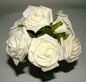 Amazon 4 bunches of 6 24 flowers large white foam roses 4 bunches of 6 24 flowers large white foam roses wedding corsage buttonholes mightylinksfo Images