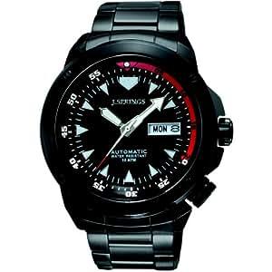 J Springs BEB053 - Reloj analógico de caballero automático con correa de acero inoxidable negra - sumergible a 100 metros