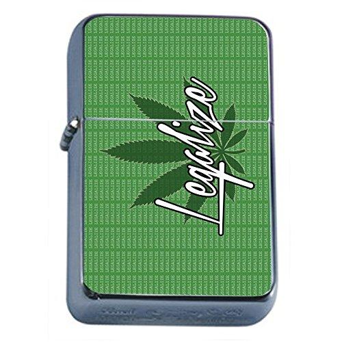 Vintage-Marijuana-Flip-Top-Dual-Torch-Lighter-S7-Smoking-Cigarette-Smoker-420-Weed