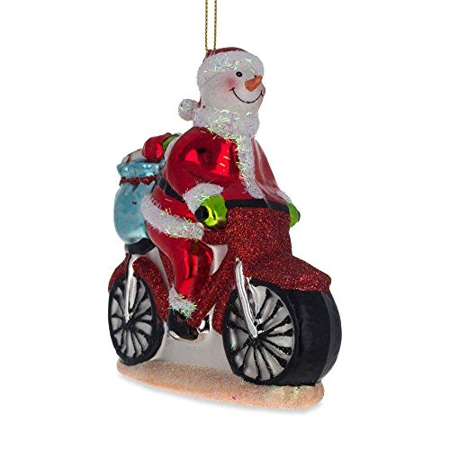 BestPysanky Snowman Biker Blown Glass Christmas Ornament 4.3 Inches ()