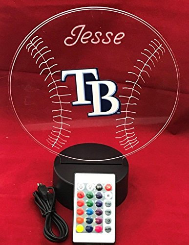 Rays MLB Light Up Lamp LED Personalized TB Rays Baseball Tampa Bay Light Up Light Lamp LED Table Lamp, Our Newest Feature - It's Wow, with Remote, 16 Color Options, Dimmer, Free Engraved, Great Gift