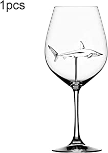 Jennles Red Wine Glasses with Shark Inside Goblet Glass Lead-Free Clear Glass for Home Bar Party