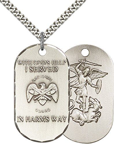 Sterling Silver U.S. National Guard Dogtag Pendant with Saint Michael Back, 1 1/2 ()
