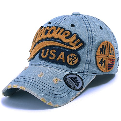Ililily Discovery USA Distressed Vintage Baseball Cap Snapback Trucker Hat (ballcap-604-3)