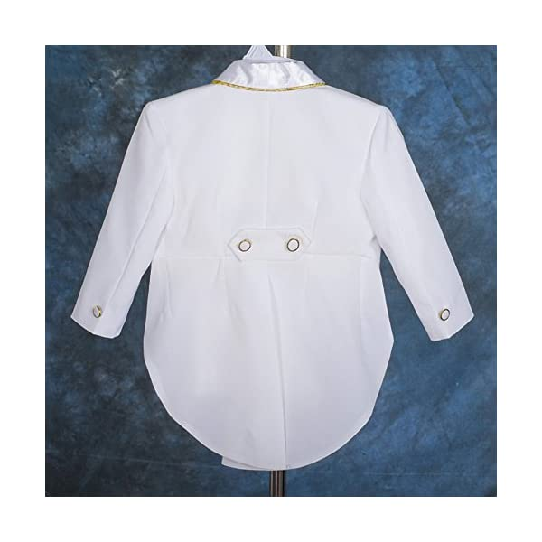 lito angeli, bimbo, gilet jacquard 5pezzi formali smoking tuta con coda battesimo outfit 3